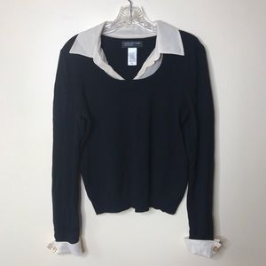 Vintage Jones New York Black Collared Sweater